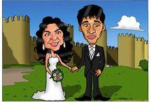 Caricaturas Novios Bodas / Caricaturas personalizadas para decorar las invitaciones de tu Boda