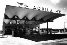 STAZIONE DI SERVIZIO CARBURANTI AQUILA / STAZIONE DI SERVIZIO CARBURANTI  Sesto San Giovanni (MI) – 1949  Architettura: Aldo Favini Strutture: Aldo Favini