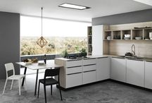 Ariel / Functional and elegant, the Ariel design interprets contemporary kitchens effortlessly. Smart materials provide a dynamic experience that brings imagination back to the kitchen.