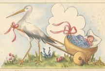 oude geboorte kaartjes en ansichtkaarten