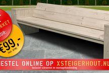 Loungebank Steigerhout / Zelf gemaakte loungebanken van steigerhout, gemaakt met een bouwpakket van xsteigerhout.nl
