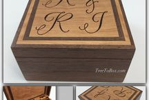 Monogrammed  wooden boxes / Woodburned custom boxes with monograms