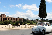 """Fiat500 italyoldstyle Tours / The vintage car, symbol of the folk Italian lifestyle, is the funniest veichle to explore Rome...trough """"her"""" sunroof"""