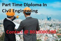 Part Time Diploma In Civil Engineering / Admission open For Diploma in Civil Engineering. Eligibility Criteria is 10th. Duration of course is divided into 6 Semesters. For more Info Contact @ 8010000200