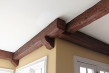 Before & After Great Room Ceiling with Faux Wood Beams / Timber faux ceiling beams and corbels dress up one customer's kitchen/family room combination and hallway. / by Faux Wood Beams