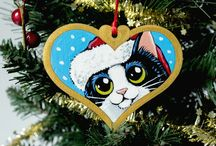 Festive Hand Painted Tree Decorations