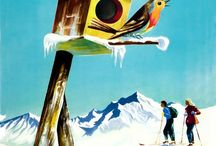 Winter Sports and Snow Advertisements and Posters / Old, Vintage, Retro illustrations