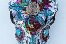 Mosaic Cow Skull