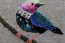 Pássaros bordado