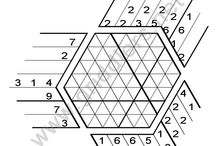 Triddlers Puzzles / Three directional griddlers nonogram puzzles.