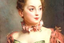 Gustave Jean Jacquet, French artist (1846- 1909) - Portrait of a lady. Love the large green bow!