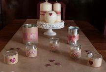 photophores et petits pots de fleurs mariage récup