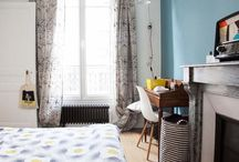 Guest room / guest room, furniture, beds, lamps, lighting, small working spaces, wall paper, wall decor, textile, patterns, cabinets