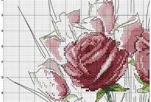 point de croix fleurs