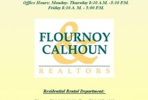 Flournoy & Calhoun Realtors Information / This board provides information about our office. It includes links to our main website, as well as our residential rental website. Also provided are our office hours/ phone numbers/ and fax numbers for the various departments, and the links to follow us Facebook, Twitter, and Instagram.