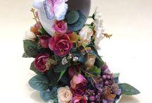 Taza flotante con flores