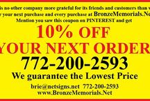 10% OFF COUPON / CUSTOM BRONZE PLAQUES, AWARDS and MEMORIALS mention our pins on PINTEREST and get 10% off coupon. Info@bronzememorials.net, or 772-924-0083 Call or email