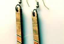 earrings from solid wood
