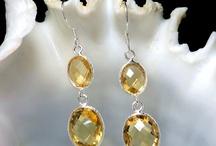 Bezel Earrings / Bezel Earrings with Natural Gemstone: Amethyst, Citrine, & Peridot