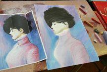 Manet / Dielo kopírované od maliara Maneta.Suchý pastel.