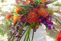 Tropical Coloured Flowers / Striking and colourful, these tropical bouquets show you some unique bouquets we can provide and those that inspire us. Which is your favourite? For Indian weddings, tropical themed weddings and simpoly stunning summer hand-tied bouquets - we have them all here.
