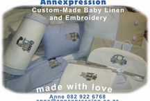 Annexpression South Africa / Custom-Made Baby Linen. Call Anne for orders. +27 82 922 6768. anne at annexpression.co.za