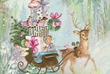Vintage Christmas paintings/Cards