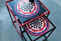 Float  / A captivatingly simple form and seamless joinery creates a puzzling sensation in the FLOAT nesting tables. The design uniting the base and the surface offer unlimited print and finish options to make the FLOAT ideal for homes and commercial setup. The tabletop pattern is inspired from pop art and Indian mythology. FLOAT can be personalized by using various color and print options too.
