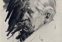 Male head drawing