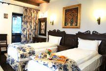 Romantic Blue Room 2 | Bratescu Mansion / Această cameră a avut ca sursă de inspiraţie stilul camerelor din castelul Bran, decorate în anii '20 de către arhitectul casei regale, Karel Zdenek Liman sub îndrumarea Reginei Maria. Sobrietatea mobilierului de epocă, accentuată de podeaua şi tavanul cu bârne şi  lambriuri maro închis, este contrabalansată de romantismul florilor albastre pe fond alb, prezente la castelul Bran pe sobele cu cahle pictate.