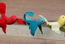 Birds - Fabric & Paper / Art birds made of cloth, felt and paper