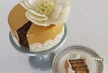 Gold leaf effect cakes