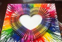 Crayon art / Get a hair dryer and melt the crayons you can do this in any shape
