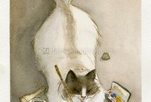 catty art >^..^< / Art featuring the poised cat, what else?   / by Cindy Lou Brodnax