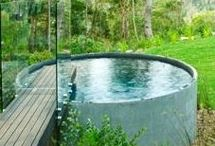 combined plunge pool and water feature