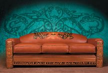 Coastal furniture / Hand carved red cedar,with inlayed abalone