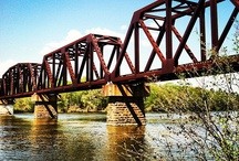 "Crossings / When I asked what my Grandfather did for a living, I was told ""Mr. Frank built bridges."" I love bridges. Covered bridges, old iron bridges, rope bridges, wooden bridges and stone bridges. My homage to bridges. / by Donna Cox"