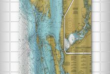 "Nautical Chart Shower Curtains / Size: 71"" high x 73"" wide.  Material: 100% Polyester Poplin. Details: 12 button holes for hook placement. Hooks not included. Liner recommended. Care: Machine wash cold with mild detergent on delicate cycle, line dry. Made in the USA by Island Girl Home, Inc."