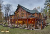 Hybrid Timber Frame Log Home - North Carolina 1861AR / Located in northern Michigan (UP) this home is a fine example for a blend between our standard log package and our Hybrid Timber Frame package. This home's owners took their favorite elements for both styles and combined them to make a truly unique mix.  Plan name: North Carolina 1861AR