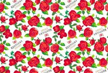 Roses are Red / Beautiful Cotton Fabrics with Roses.