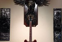 Guitar Shrine Art / Christopher wanted to build the ultimate shrine for guitar gods! He combined his biomechanical  skills into an old bull skull. This piece is currently for sell.