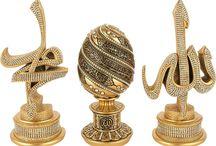 Ayetel Kursi , Allah c.c. - Muhammed sav yazılı kristal taşlı Biblo takımı