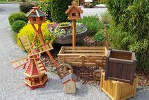 Wolff´s Blockhaus - Gartenaccessoires Windmühle, Vogelhaus, Pflanzkästen / Schöne Gartendekoration - Verschiedene Ausführungen an Vogelhäusern, Windmühlen oder auch Pflanzgefäßen