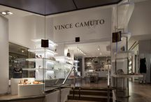 Vince Camuto Grand Central - retail store design / The Vince Camuto flagship store in Grand Central Terminal New York is the first retail location dedicated to the US brand.  This sophisticated space balances modern product display elements with a sharp material palette to frame, reflect, and layer Camuto's edgy feminine style