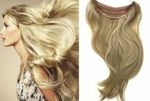 Blonde halo type hair extensions