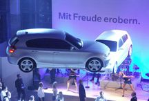 Flying Car BMW 1er / Flying car BMW 1er made of light foam for product launch in Munich