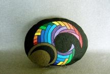 sort abstrakt sten