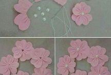 Flores: feltro, tecido e papel