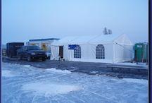 Seizoensfeest. Tenten in de Winter! / Met de juiste kachel, kun je heel het jaar door een tentfeest geven. Op dit bord zie je een aantal voorbeelden.