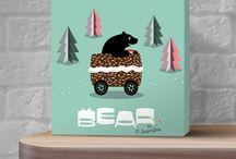 Wall art / BearBySugarfree© illustrated kids wall canvas. Available at Etsy.com